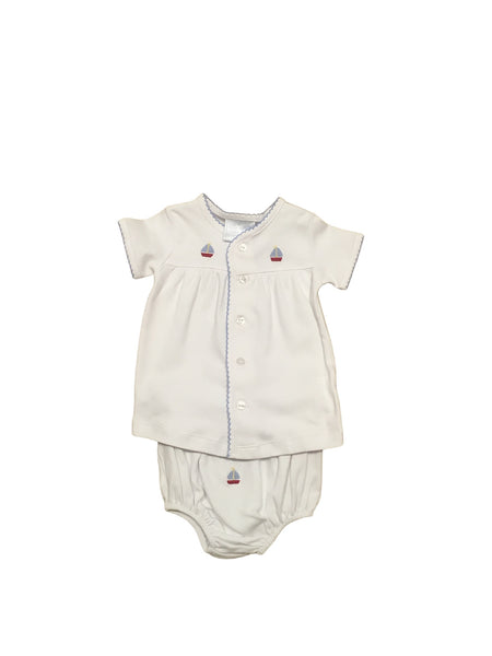 Little English Sailboat Pinpoint Layette Set
