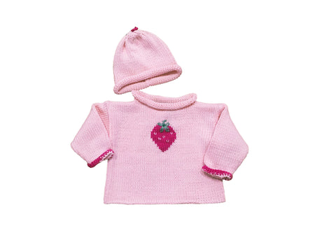 Hand Knit Pink Strawberry Sweater