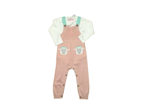 Pink Knit 2pc Overall with Sheep