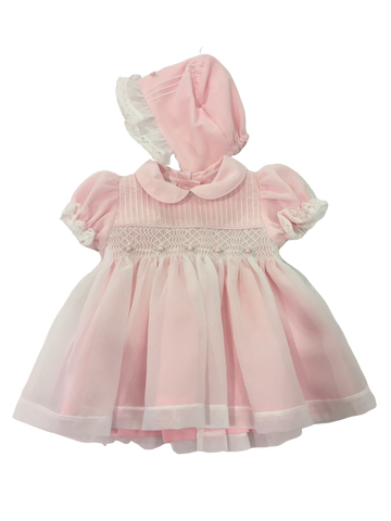 Pink Smocked Dress with Bonnet