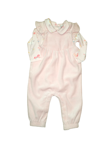 Angel Dear Pink Velour Overall and Onesie