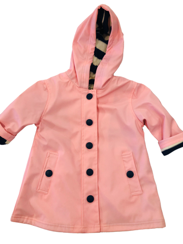 Hatley Pink Spash Coat with Navy Striped Interior and Snaps