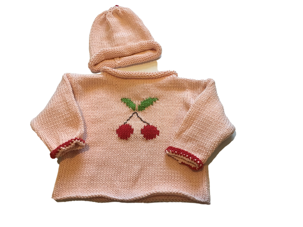 Hand knit Pink Cherry Rollneck Sweater