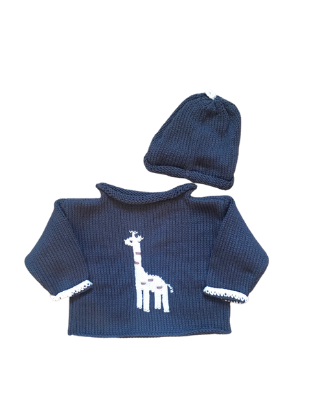 Hand Knit Dark Grey Giraffe Sweater & Hat