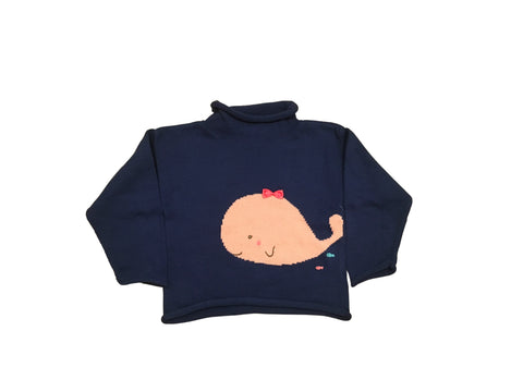 Royal Blue Cotton  Sweater with Pink Whale
