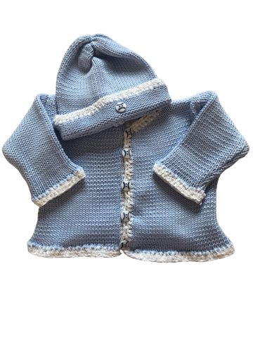 Hand Knit Blue Cardigan ant with Baseball Buttons SOLD