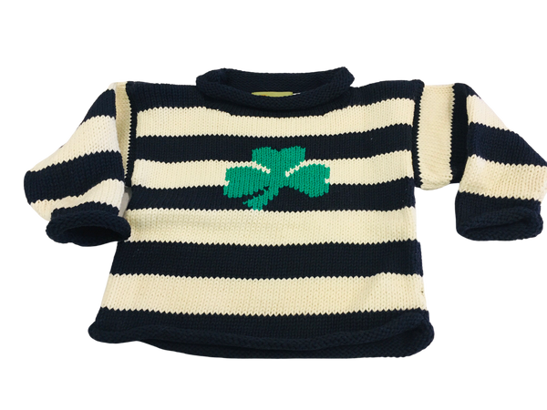 Baby Luigi Navy Striped Shamrock Sweater
