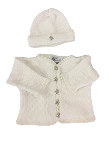 White Handknit Cardigan and Hat Set with Teddy Bear Buttons