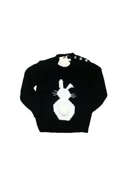 Navy Crewneck with White Bunny and Cottontail.