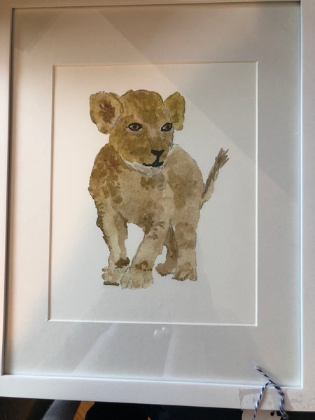 Baby Lion Water Color Print