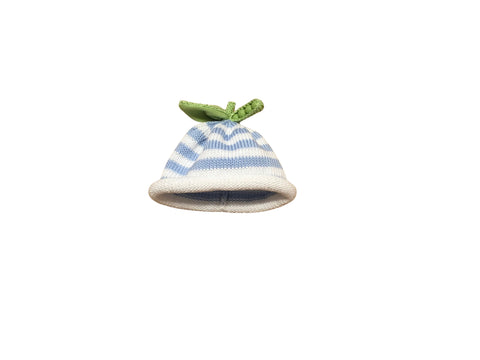 Hand knit Blue Peapod Hat