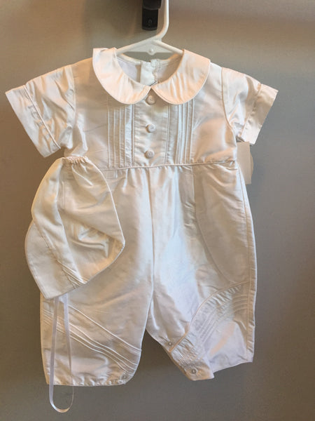 Will'beth Boys Silk Christening Romper