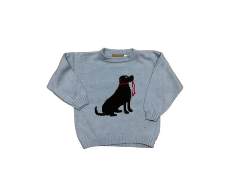 Light Blue Crewneck Sweater with Black Lab
