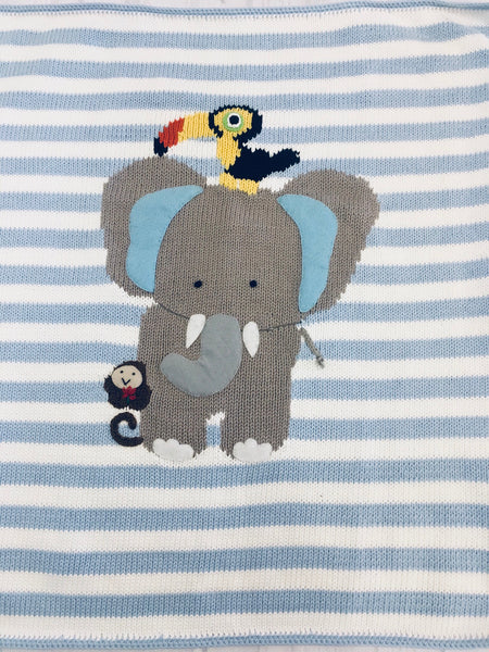 Art Walk Blue Stripe Elephant & Friends Blanket