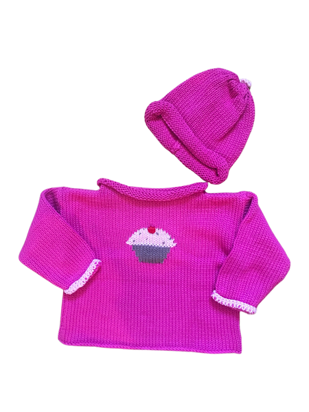Hand Knit Pink Cupcake Sweater & Hat SOLD