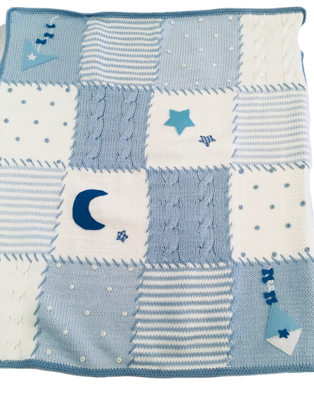 Art Walk Blue Up in the Sky Knit Blanket with kite, moon and stars- SOLD