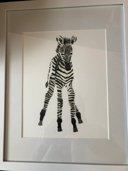 Baby Zebra Water Color Print