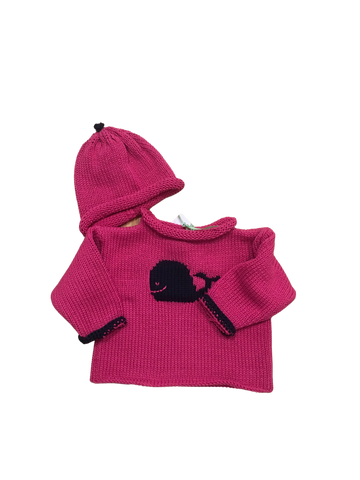 Hand Knit Pink Whale Sweater