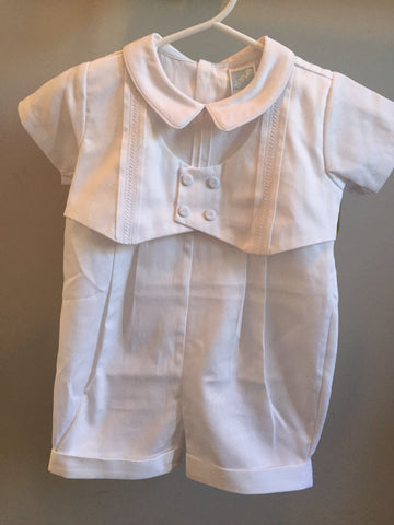 Will'beth Boys Christening Romper with Vest