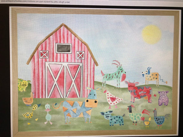 Watercolor Framed Print of Barn and Animals