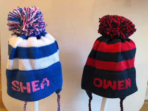Personalized Pom Pom Hat - you choose colors - sizes 6m-10yr.  Email store bygeorge795@gmail.com to purchase.
