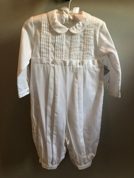 Kissy Kissy Boys Alexander  Christening L/S Romper with Pleats