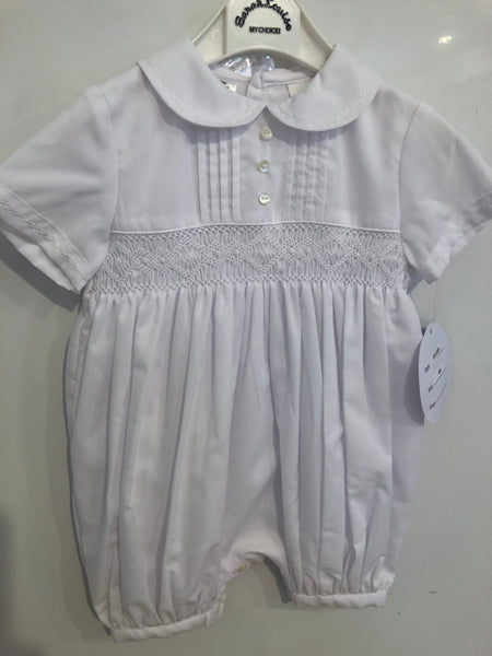 Sarah Louise Short Smocked Christening Romper