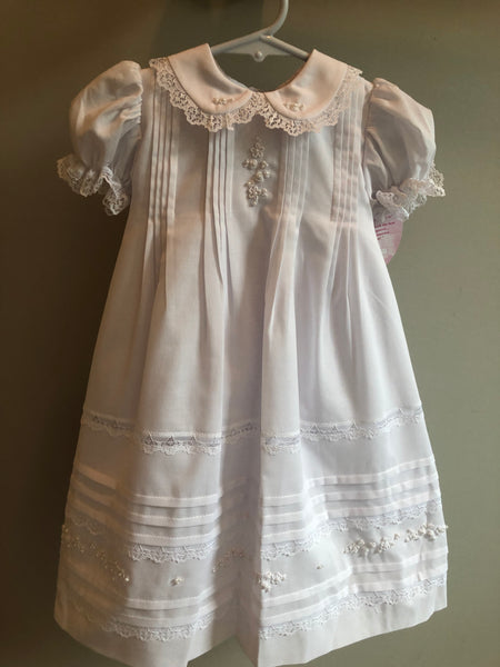 Will'Beth Short Christening Dress w/Pearl Embroidered Flowers and Lace Collar