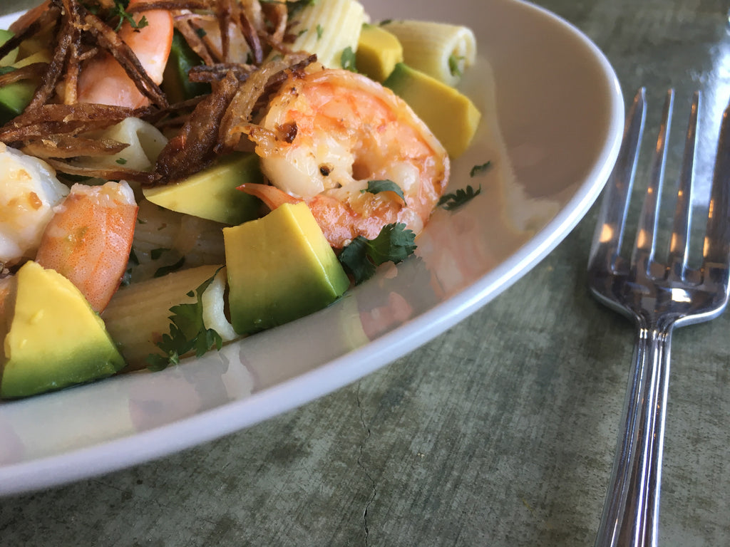 Recipe: Rigatoni with Shrimp, Avocado and Miso-Lemon Dressing