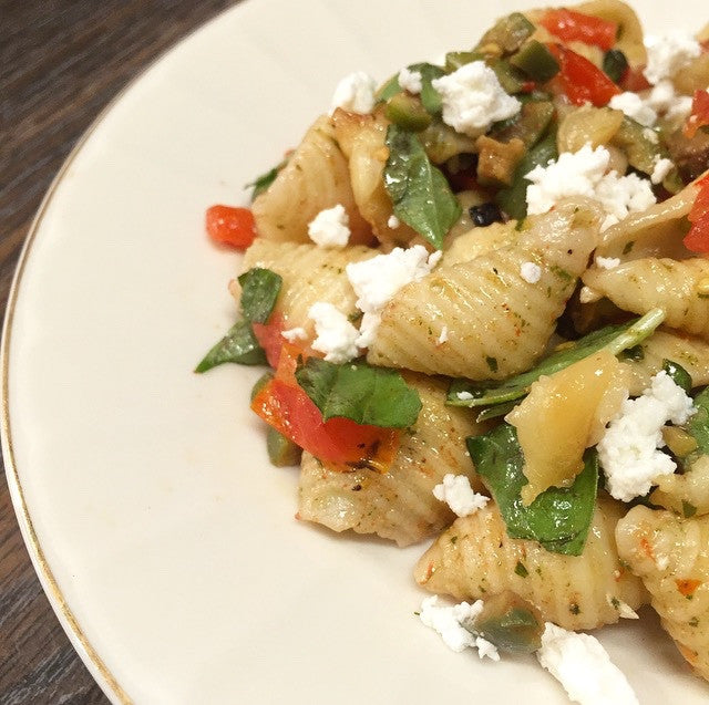Recipe: Shells with Charred Peppers, Cherry Tomatoes, Ricotta & Basil Oil