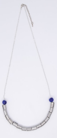 Steel & Clay Barrel Necklace- Blue