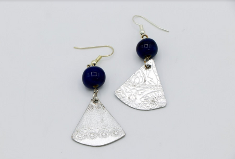 Steel & Clay Fan Earrings- Blue