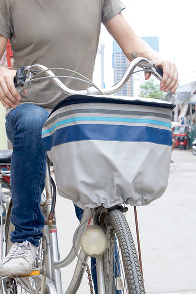 Bicycle Basket Cover (Gray Stripe)
