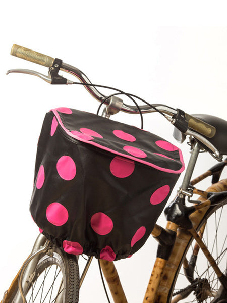 Bicycle Basket Cover (Black w/ Pink Polka)