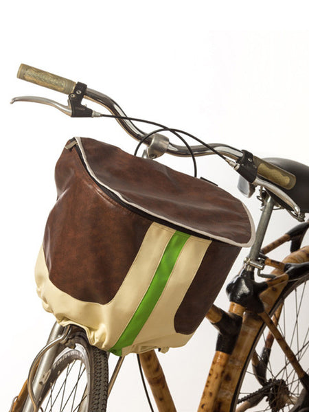 Bicycle Basket Cover (Brown w/ White)