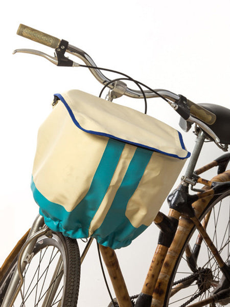 Bicycle Basket Cover (White w/ Blue Stripes)