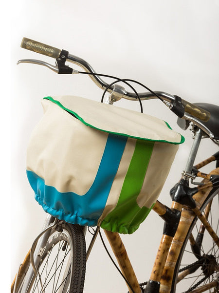 Bicycle Basket Cover (White & Green & Blue Stripes)