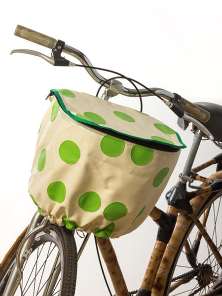 Bicycle Basket Cover (White w/ Green Polka)
