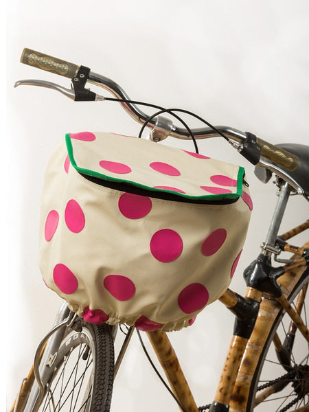 Bicycle Basket Cover (White w/ Pink Polka)