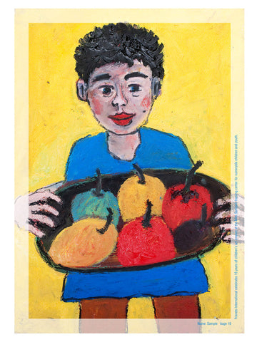 Boy with Fruits Poster (A3)