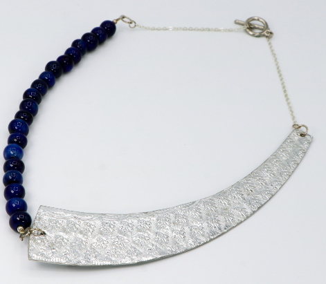 Steel & Clay Shard Necklace- Blue