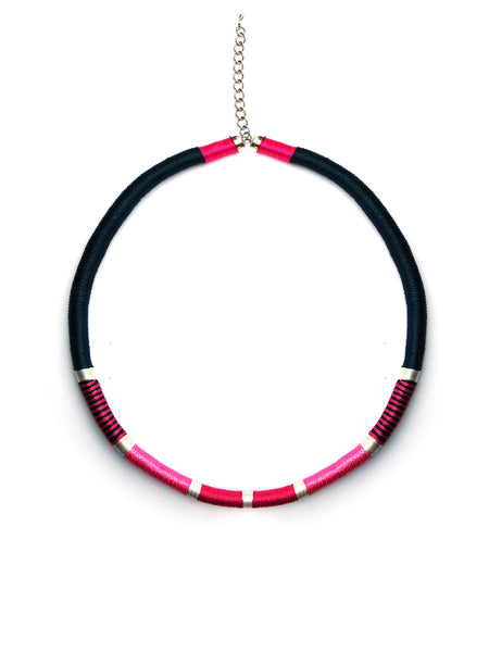 Thread-Wrapped Necklace (Pink)