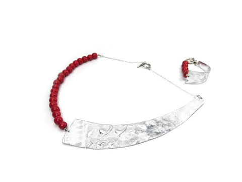 Shard Necklace ( Silver & Red )