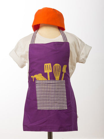 Utensil Apron and Hat Set for Kids (Purple)