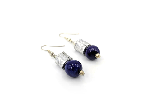 Steel & Clay Barrel Earrings- Blue