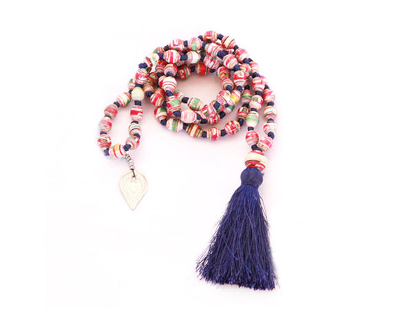 Painted Paper Pepper Bead Necklace (Navy Tassel)