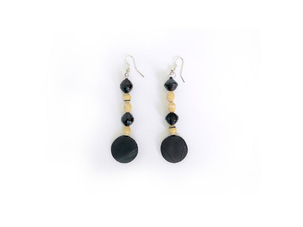 Tire/Paper Bead Earrings (Natural)