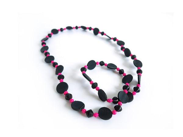 Tire & Paper Bead Necklace (Pink)