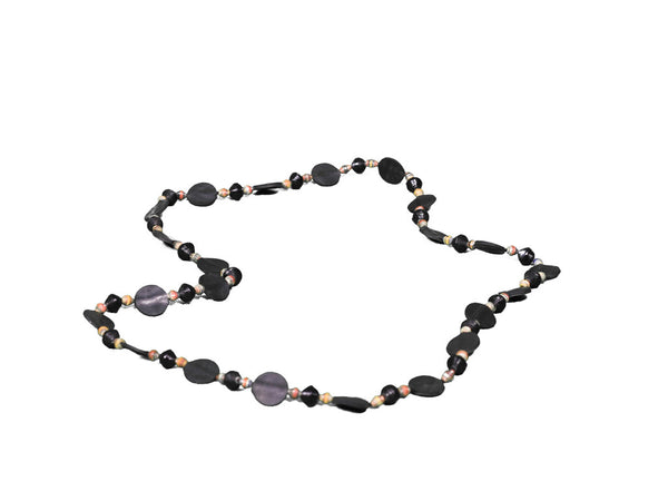 Tire & Paper Bead Necklace (Natural)