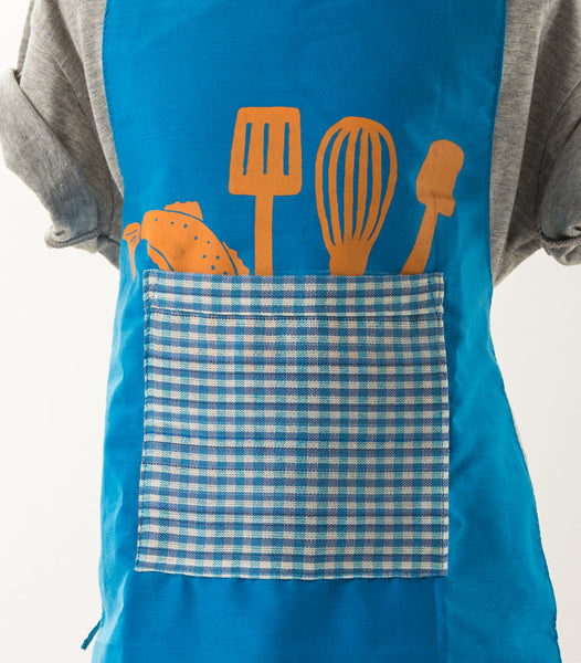 Utensil Apron and Hat Set for Kids (Blue)